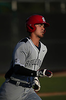 Aaron Arruda (27) of the Fresno State Bulldogs runs the bases during a game against the Pepperdine Waves at Eddy D. Field Stadium on March 7, 2017 in Los Angeles, California. Pepperdine defeated Fresno State, 8-7. (Larry Goren/Four Seam Images)