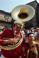 Spanien, Galicien, Santiago de Compostella, Musiker vor Kathedrale (Pilger)