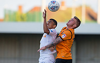 Jefferson Montero of Swansea City & Harry Taylor of Barnet go for the ball during the 2017/18 Pre Season Friendly match between Barnet and Swansea City at The Hive, London, England on 12 July 2017. Photo by Andy Rowland.