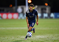 LAKE BUENA VISTA, FL - JULY 26: Graham Zusi of Sporting KC prepares to shoot during a game between Vancouver Whitecaps and Sporting Kansas City at ESPN Wide World of Sports on July 26, 2020 in Lake Buena Vista, Florida.