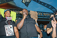 """Thousands gathered outside the Massachusetts State House in Boston, Massachusetts, on Sun., May 31, 2020, to demonstrate against police brutality after the killing by police of George Floyd in Minneapolis, Minnesota, the previous week. Protests, sometimes violent, have erupted around the United States. This protest was organized by an organization called Black Boston. Protesters often chanted """"Black Lives Matter"""" and """"Fuck the police."""" The protest began at 6:30pm in various parts of the city, and around 9pm, after most protesters had left, there began to be clashes between people and police, especially in the Downtown Crossing area of Boston and around Boston Common.  The protest signs here reads """"Black Lives Matter because in American they never have!!!"""""""