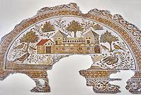 4th century AD Roman mosaic depiction of Roman Villa farms in Africa. The Bardo Museum, Tunis, Tunisia.