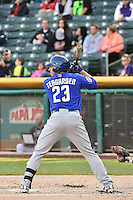 Taylor Teagarden (23) of the Las Vegas 51s at bat against the Salt Lake Bees at Smith's Ballpark on May 8, 2014 in Salt Lake City, Utah.  (Stephen Smith/Four Seam Images)