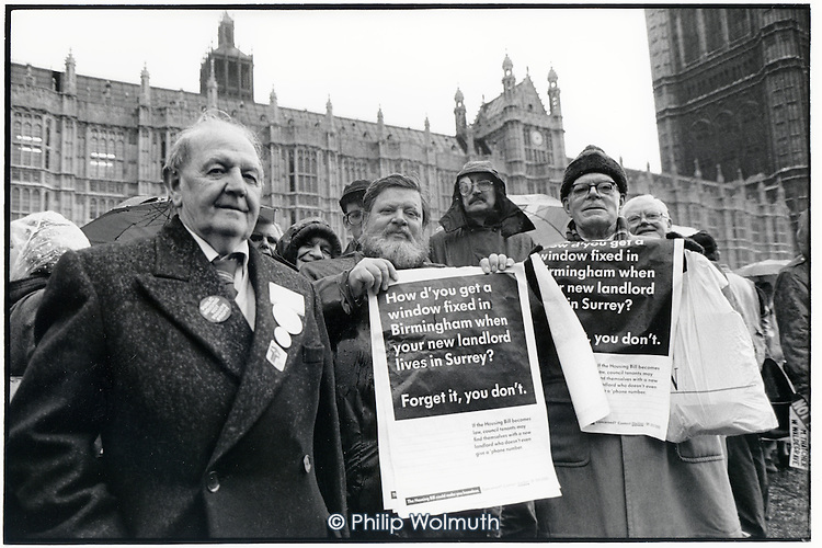 Tenants lobby Parliament during the third reading of the Housing Bill, which proposes privatisation of council housing and the introduction of Housing Action Trusts (HATs).