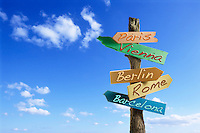 sign, notice or bill board saying Paris, Vienna, Berlin, Rome and Barcelona. European cities for travel and business information