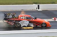 Apr. 28, 2013; Baytown, TX, USA: NHRA funny car driver Johnny Gray blows an engine during the Spring Nationals at Royal Purple Raceway. Mandatory Credit: Mark J. Rebilas-