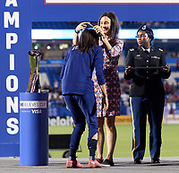 FRISCO, TX - MARCH 11: Christen Press #23 of the United States receives her medal during a game between Japan and USWNT at Toyota Stadium on March 11, 2020 in Frisco, Texas.