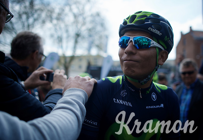 Nairo Quintana (COL/Movistar) getting a pad on the shoulder by fans at the start<br /> <br /> 79th Flèche Wallonne 2015