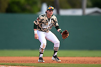 Slippery Rock infielder Preston Falascino (18) during a game against the Kentucky Wesleyan Panthers on March 9, 2015 at Jack Russell Stadium in Clearwater, Florida.  Kentucky Wesleyan defeated Slippery Rock 5-4.  (Mike Janes/Four Seam Images)
