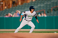 Vermont Lake Monsters second baseman J.C. Rodriguez (7) leads off first base during a game against the Tri-City ValleyCats on June 16, 2018 at Joseph L. Bruno Stadium in Troy, New York.  Vermont defeated Tri-City 6-2.  (Mike Janes/Four Seam Images)