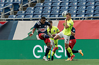 FOXBOROUGH, MA - MAY 12: Francois Dulysse #60 of New England Revolution II and Ethan Vanacore-Decker #7 of Union Omaha battle for the ball during a game between Union Omaha and New England Revolution II at Gillette Stadium on May 12, 2021 in Foxborough, Massachusetts.