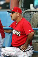 August 3rd 2008:  Manager Mark DeJohn of the Batavia Muckdogs, Class-A affiliate of the St. Louis Cardinals, during a game at Dwyer Stadium in Batavia, NY.  Photo by:  Mike Janes/Four Seam Images