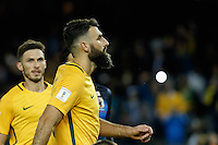 October 11, 2016: MILE JEDINAK (15) of Australia reacts after scoring through a penalty kick during a 3rd round Group B World Cup 2018 qualification match between Australia and Japan at the Docklands Stadium in Melbourne, Australia. Photo Sydney Low Please visit zumapress.com for editorial licensing. *This image is NOT FOR SALE via this web site.
