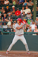 Clearwater Threshers outfielder Dylan Cozens (23) in action during a game against the Daytona Tortugas at Radiology Associates Field at Jackie Robinson Ballpark on May 9, 2015 in Daytona, Florida. Clearwater defeated Daytona 7-0. (Robert Gurganus/Four Seam Images)