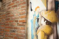 Europe/France/Midi-Pyrénées/81/Tarn/ Albi / Mur peint, Hommage à Toulouse-Lautrec dans les rues du Vieil Albi