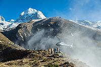 Helicopter landing above Panghboche village, Khumbu, Nepal