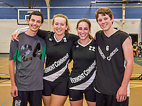 16 October 2015: The Vermont Commons School Flying Turtles four Seniors pose for a photo prior to facing the Enosburg Falls Hornets at the Fitness Edge Gymnasium in South Burlington, Vermont. Pictured (left to right) are Josh Wolfstein, Nina Mantegna, Anna Leffler and Eli Hinds. The matches were the last home games of the VCS teams for the 2015 season. Mandatory Credit: Ed Wolfstein Photo *** RAW (NEF) Image File Available ***
