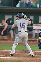 Jeff Moberg (15) of the Grand Junction Rockies bats against the Ogden Raptors at Lindquist Field on September 6, 2017 in Ogden, Utah. Ogden defeated Grand Junction 11-7. (Stephen Smith/Four Seam Images)