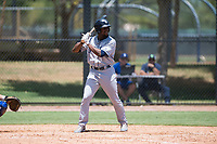 AZL Padres 2 center fielder Hunter Jarmon (24) at bat during an Arizona League game against the AZL Dodgers at Camelback Ranch on July 4, 2018 in Glendale, Arizona. The AZL Dodgers defeated the AZL Padres 2 9-8. (Zachary Lucy/Four Seam Images)