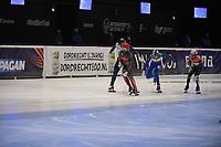 SPEEDSKATING: DORDRECHT: 06-03-2021, ISU World Short Track Speedskating Championships, QF 500m Men, Sjinkie Knegt (NED), Charles Hamelin (CAN), Luca Spechenhauser (ITA), Vladislav Bykanov (ISR), ©photo Martin de Jong