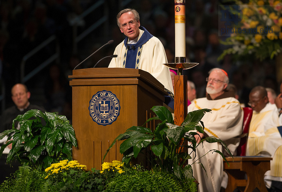 May 17, 2014; Rev. John I. Jenkins, C.S.C. president of the University of Notre Dame, gives the homily at the 2014 Commencement Mass. Photo by Barbara Johnston/University of Notre Dame