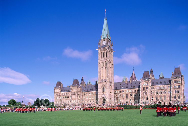 Changing of the Guard Ceremony at the Parliament Buildings on Parliament Hill, in the City of Ottawa, Ontario, Canada - Centre Block with Peace Tower (built 1865 - 1927)