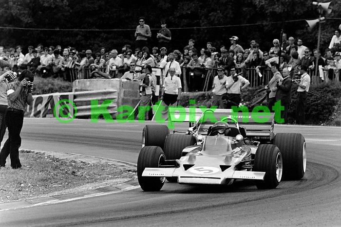 Jochen Rindt leading Jack Brabham at the 1970 British Grand Prix at Brands Hatch.