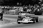 Jochen Rindt leading Jack Brabham at the 1970 British Grand Prix at Brands Hatch.