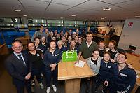 IJSHOCKEY: HEERENVEEN: 10-12-2019, IJsstadion Thialf, Nederlands dames IJshockey Team, Savine Wielenga (Captain), ondertekening contract door Ed Bontrop (TEAMKPN Sportfonds) en  Jan Hopstaken (Voorzitter IJshockey Nederland), ©foto Martin de Jong