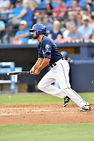 Asheville Tourists left fielder Jacob Bosiokovic (21) swings at a pitch during a game against the Charleston RiverDogs at McCormick Field on July 6, 2017 in Asheville, North Carolina. The Tourists defeated the RiverDogs 13-9. (Tony Farlow/Four Seam Images)