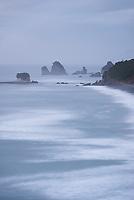 Moody weather on wild coastline near Rapahoe near Greymouth, West Coast, South Island, New Zealand