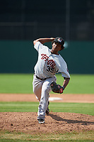 Tri-City ValleyCats relief pitcher Diogenes Almengo (35) delivers a pitch during a game against the Batavia Muckdogs on July 16, 2017 at Dwyer Stadium in Batavia, New York.  Tri-City defeated Batavia 13-8.  (Mike Janes/Four Seam Images)