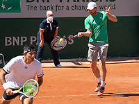 Paris, France, 1 june 2021, Tennis, French Open, Roland Garros, First round doubles match:  Arevalo and Matwe Middelkoop (R) (NED) <br /> Photo: tennisimages.com