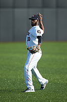 Luis Payano (10) of the Buies Creek Astros warms up in the outfield prior to the game against the Frederick Keys at Jim Perry Stadium on April 28, 2018 in Buies Creek, North Carolina. The Astros defeated the Keys 9-4.  (Brian Westerholt/Four Seam Images)