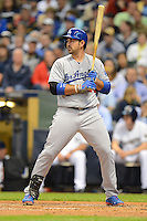Los Angeles Dodgers first baseman Adrian Gonzalez #23 during a game against the Milwaukee Brewers at Miller Park on May 22, 2013 in Milwaukee, Wisconsin.  Los Angeles defeated Milwaukee 9-2.  (Mike Janes/Four Seam Images)