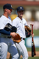 Detroit Tigers Andre Lipcius (41) walks off the field with Spencer Torkelson (left) after a Florida Instructional League intrasquad game on October 24, 2020 at Joker Marchant Stadium in Lakeland, Florida.  (Mike Janes/Four Seam Images)