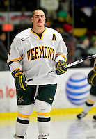 30 January 2010: University of Vermont Catamount defenseman Patrick Cullity, a Senior from Tewsbury, MA, awaits the start of play prior to a game against the University of Maine Black Bears at Gutterson Fieldhouse in Burlington, Vermont. The Maine Black Bears and the Catamounts played to a 4-4 tie in the second game of their America East weekend series. Mandatory Credit: Ed Wolfstein Photo