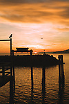 Evening view from the Des Moines Marina.  City of Des Moines, Washington.  Vashon Island in background across Puget Sound.