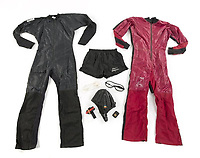 """COPY BY TOM BEDFORD<br /> Pictured: Wet suits from the film Point Break once belonged to actor Patrick Swayze that was sold at auction<br /> Re: The iconic black leather jacket worn by Patrick Swayze in the hit film Dirty Dancing has sold for $50,000 (£38,612) at auction.<br /> It was bought by a fan after the tragic actor's wife decided to sell his movie memorabilia. <br /> The jacket had a reserve of just $6,000(£4,630) at the auction in Los Angeles but an internet bid of $25,000(£19,300) was received before the auction started.<br /> The salesroom erupted with applause when the hammer came down at $50,000.<br /> Auctioneer Darren Julien said: """"We always knew it would fetch big bucks.<br /> """"The jacket is the holy grail for Patrick Swayze fans and there are a lot out there.""""  <br /> The heart throb actor wore the James Dean-style jacket throughout Dirty Dancing including the  scene where he says: """"Nobody puts Baby in a corner"""".<br /> The jacket belonged to Swayze before the movie was made in 1987.<br /> Dirty Dancing was a low-budget movie and most of the clothes Swayze's wore were his own, including the leather jacket.<br /> Mr Julien said: """"Because it was his jacket he got to keep it after the movie and wore it whenever he felt like it."""