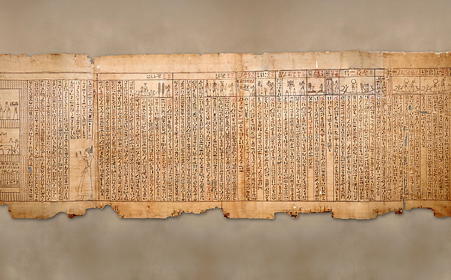 """Ancient Egyptian Book of the Dead papyrus - Spell 105 for gratifying the deceased with Ka, Iufankh's Book of the Dead, Ptolemaic period (332-30BC).Turin Egyptian Museum<br /> <br /> The spell is """" Hail to thee, my spirit, my lifetime. Behold I am come unto thee risen, powerful, posessed of a soul, mighty.<br /> <br /> You who weighs in the balance. may truth rise to the nose of Ra, on that day of judgement, ley not my head be taken away from me.""""<br /> <br /> The translation of  Iuefankh's Book of the Dead papyrus by Richard Lepsius marked a truning point in the studies of ancient Egyptian funereal studies."""
