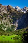 Deutschland, Bayern, Berchtesgadener Land, am Obersee im Nationalpark Berchtesgaden, am Ende des Sees liegt die Fischunkelalm und der Roethbachfall vor dem Steinernen Meer mit der Schoenfeldspitze | Germany, Upper Bavaria, Berchtesgadener Land, Lake Koenigssee (Upper Lake) in Berchtesgaden National Park, at background Steinerne Meer mountains