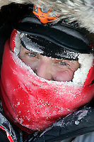 Tuesday March 6, 2007    Ramy Brooks is frosted up after arrivng at the Nikolai checkpoint on Tuesday