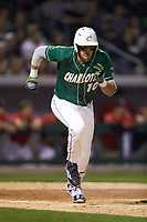 Zach Jarrett (10) of the Charlotte 49ers hustles down the first base line against the Georgia Bulldogs at BB&T Ballpark on March 8, 2016 in Charlotte, North Carolina. The 49ers defeated the Bulldogs 15-4. (Brian Westerholt/Four Seam Images)