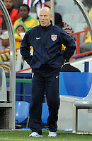 USA manager Bob Bradley looks dejected. Brazil defeated USA 3-0 during the FIFA Confederations Cup at Loftus Versfeld Stadium in Tshwane/Pretoria, South Africa on June 18, 2009.