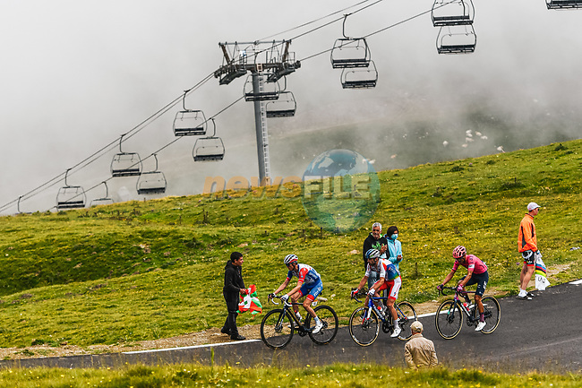 David Gaudu (FRA) Groupama-FDJ, Pierre Latour (FRA) Total Energies and Ruben Guerreiro (POR) EF-Nippo climb Col du Tourmalet during Stage 18 of the 2021 Tour de France, running 129.7km from Pau to Luz Ardiden, France. 15th July 2021.  <br /> Picture: A.S.O./Charly Lopez | Cyclefile<br /> <br /> All photos usage must carry mandatory copyright credit (© Cyclefile | A.S.O./Charly Lopez)