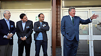 Pictured L-R: Steve Kaplan, Jason Levien, Landon Donovan and John Toshack MBE Tuesday 04 April 2017<br />Re: Official opening of the Fairwood Training Complex of Swansea City FC, Wales, UK