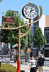 August 11, 2020, Kumagaya, Japan - Pedestrians take picturres of a thermometer in Kumagaya, suburban Tokyo on Tuesday, August 11, 2020. Heatwave attacked Kanto region and some points recorded over 40-degree Celsius.       (Photo by Yoshio Tsunoda/AFLO)