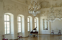 The white stucco ballroom depicts the four elements and the four seasons and is one of sculptor Johann Michael Graff's masterpieces