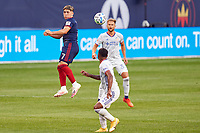 CHICAGO, UNITED STATES - AUGUST 25: Ignacio Aliseda #7 of Chicago Fire heads the ball during a game between FC Cincinnati and Chicago Fire at Soldier Field on August 25, 2020 in Chicago, Illinois.