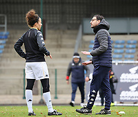 Head Coach Philippe Venturoso (Charleroi) gives instructions to Ines Dhaou (5 Charleroi) during the warm up before a female soccer game between FC Femina White Star Woluwe and Sporting Charleroi on the 10 th matchday of the 2020 - 2021 season of Belgian Scooore Womens Super League , Saturday 19 th of December 2020  in Woluwe , Belgium . PHOTO SPORTPIX.BE | SPP | SEVIL OKTEM